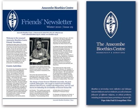 Newsletter and leaflet design for The Anscombe Bioethics Company
